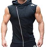 【 Smaids×Smile 】 メンズ フード付き ベスト 袖なし パーカー スポーツ ジップ ノースリーブ ( ブラック , L )