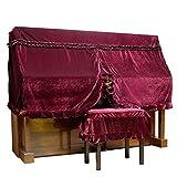 ONETAKE ベルベット アップライト ピアノカバー ハーフカバー 椅子カバー付き ワインレッド