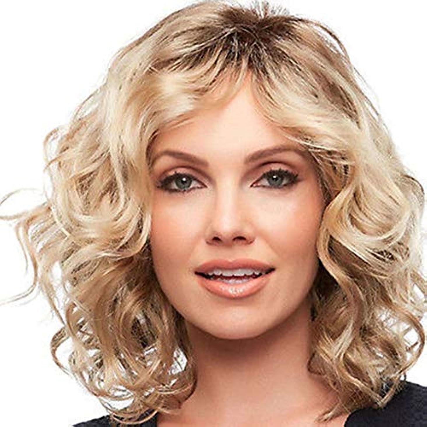 逆説セグメント脊椎YOUQIU 女子金髪ショートカーリーヘアウィッグふわふわヘアスタイリング中部ウィッグウィッグ (色 : Blonde)