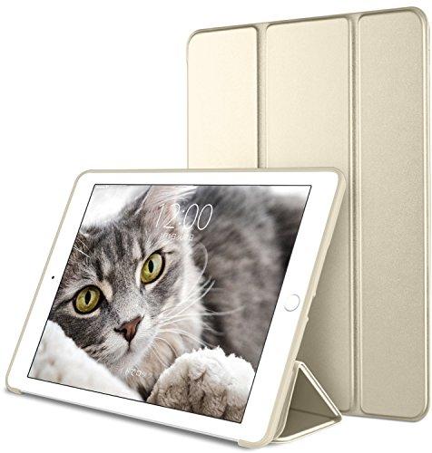 DTTO iPad Mini4 ケース 生涯保証 TPU ソフト 超薄型 超軽量 PUレザー スマートカバー 三つ折り スタンド スマートキーボード対応 キズ防止 指紋防止 [オート スリープ/スリープ解除] シャンパンゴールド
