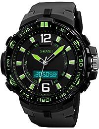 メンズ デジタル腕時計 高品質 多機能化 アラームクロック タイマー 4色 5気圧防水 スポーツウォッチ 男女兼用 メンズ (グリーン)