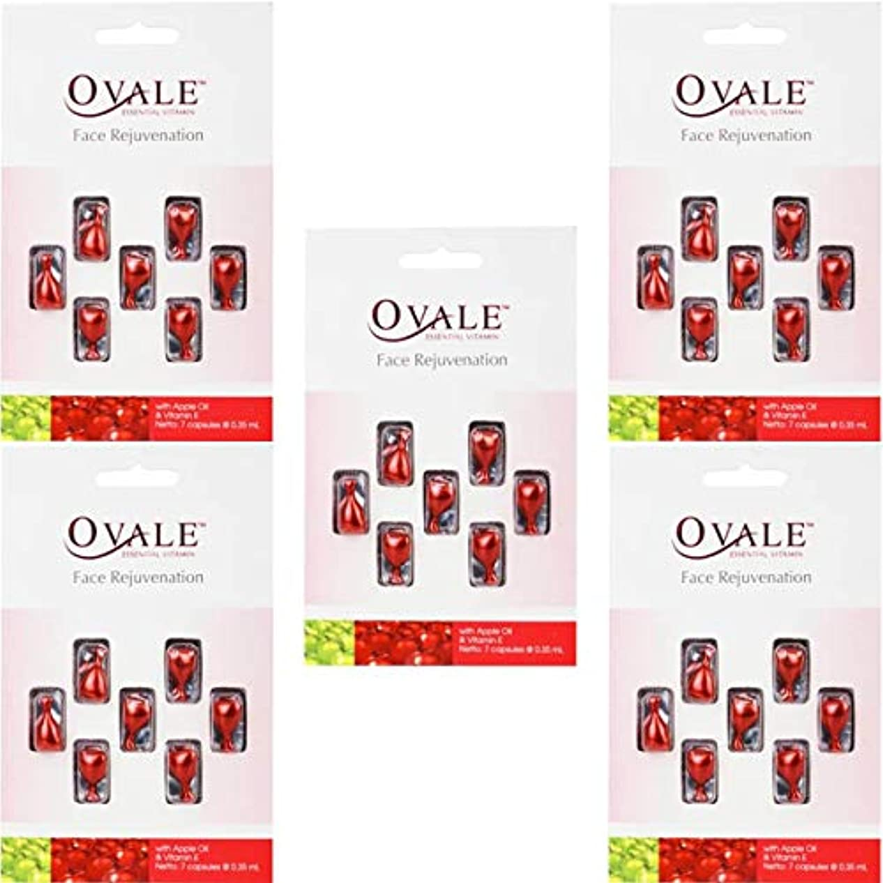 貪欲無効無効Ovale オーバル フェイシャル美容液 essential vitamin エッセンシャルビタミン 7粒入シート×5枚セット アップル [海外直送品]
