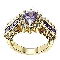 (トヨベイ)Toyobuy ジュエリー リング 指輪 ファッションリング 紫・ジルコニア ゴールド 指輪 ギフト プレゼント アクセサリー USAサイズ7号