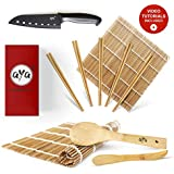 Sushi Making Kit - Original AYA Bamboo Kit withSushi Chef Knife- Online Video Tutorials - 2 Rolling Mats - Paddle & Spreader - 5 Pairs of Chopsticks - 100% Natural Premium Mold-Resistant Bamboo Mats