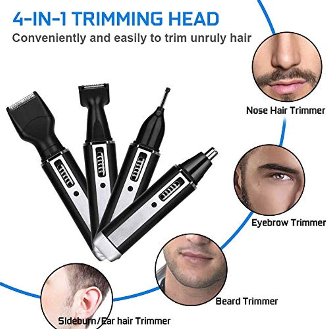 エイズ公園資格鼻毛トリマー - 4in1多機能 ステンレス製 鼻?耳毛カッター 眉シェーバー 耳毛カッター 充電式 女兼用携帯便利