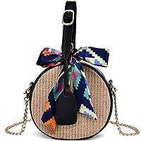 FTSUCQ Womens/Big Girls Handmade Crochet Straw Woven Shoulder Handbags Tote Beach Bag Satchels