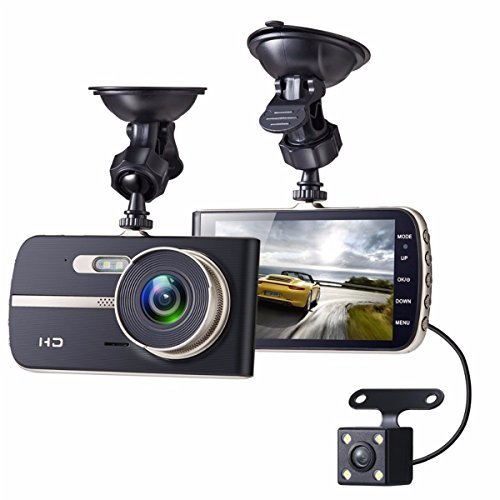 ドライブレコーダー EIVOTOR デュアルドライブレコーダー 1080P 前後カメラ フルHD 140度広角 小型ドラレコ 駐車監視 4.0インチ液晶モニター モーション検知 Gセンサー内蔵 一年間保証 グレー