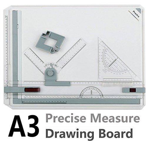 Preciva A3サイズ製図板 定規付 ドラフターセット 製図書きの必需品 図面 建築 卓上製図板