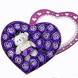 ローズ フラワー ソープ 20個セット 造花 薔薇 香り 石鹸 可愛い熊付き フラワーボックス ギフトボックス 結婚祝い 誕生日 卒業にプレゼント (パープル)