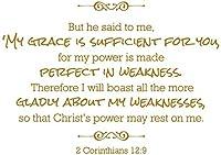 "2Corinthians 12: 9が–彼は私に、私のGarceは十分な。。。ビニールデカールステッカー引用 28"" Wide RE291LGMG"