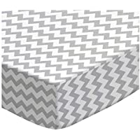 SheetWorld Fitted Pack N Play (Graco Square Playard) Sheet - Grey Chevron Zigzag - Made In USA [並行輸入品]