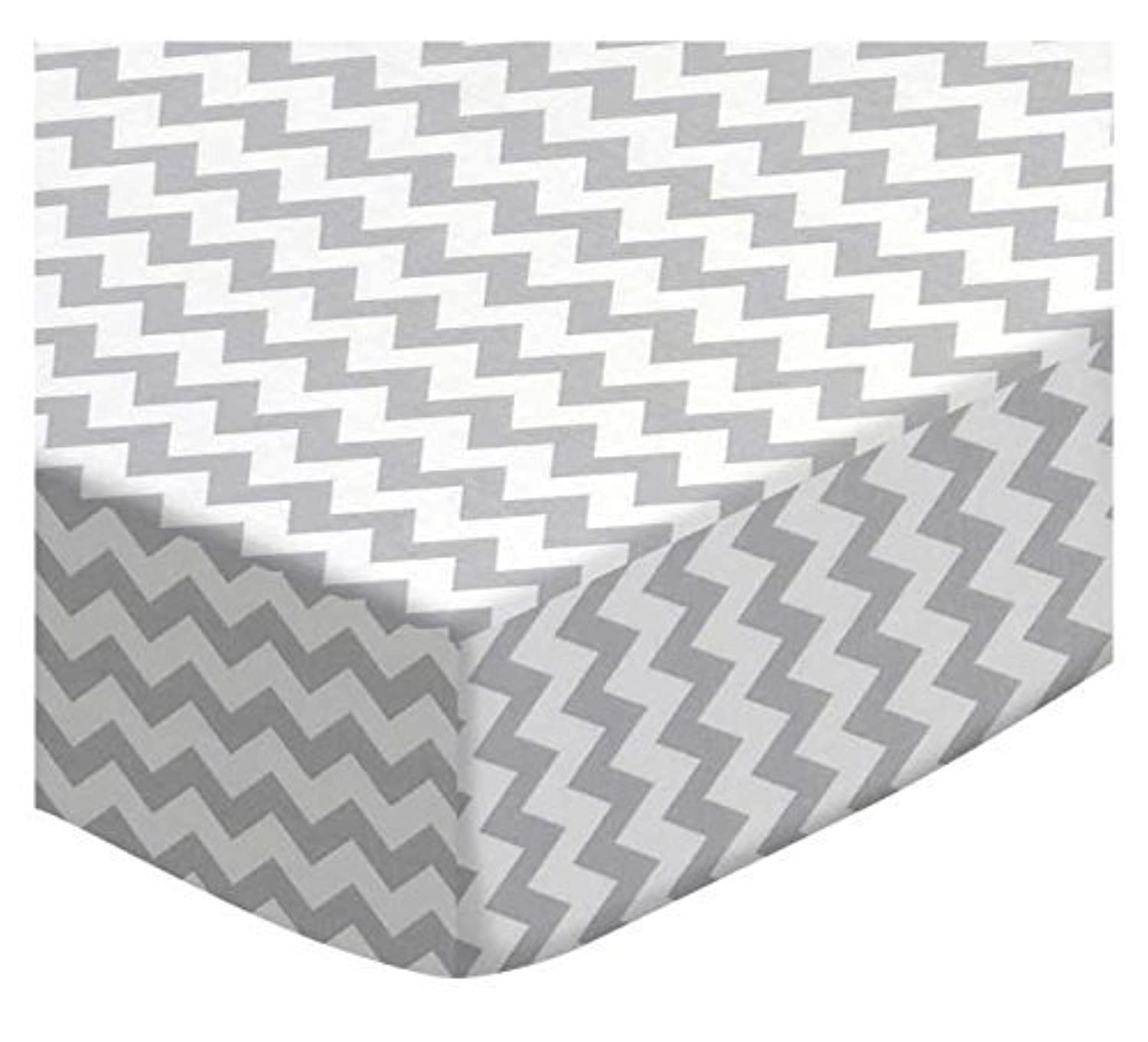 SheetWorld Fitted Sheet (Fits BabyBjorn Travel Crib Light) - Grey Chevron Zigzag - Made In USA [並行輸入品]