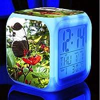 美しい蝶目覚まし時計LED輝くデジタル目覚まし時計キッズギフト多機能フラッシュ時計時計