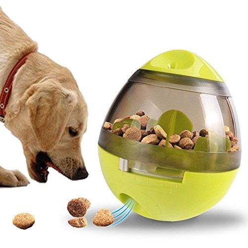 ペット食器 おやつボール 噛むおもちゃ 早食い防止 知育玩具 倒れないエッグ 歯磨き 餌入れ犬猫兼用...