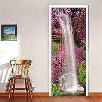 Hxcok 滝風景3D壁画壁紙ドアステッカー家の装飾リビングルーム寝室pvc自己接着性diyドアステッカー3d現代-95X215CM