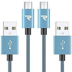 Rampow Micro USBケーブル【2本組 青】生涯保証 2.4A急速充電ケーブル 5000回以上の曲折テスト 高耐久編組ナイロン Android microusb対応 マイクロusbケーブル
