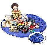 Luxebell おもちゃ 収納 バッグ お片づけマット おもちゃマット 持ち運びやすい おもちゃ収納袋 お片づけやすい 玩具 プレイマット Lサイズ1個入 ブルー (直径150cm 防水シート)