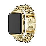 アップルウォッチ バンド Wollpo® apple watch ステンレス バンド 金属 ベルト Apple Watch に専用 バンド ステンレス アップルウォッチ 交換バンド ステンレス留め金製 (ステンレス チェーン, ゴールデン42mm)