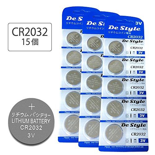 Destyle 15個 入 CR2032 ボタン電池 3v ...