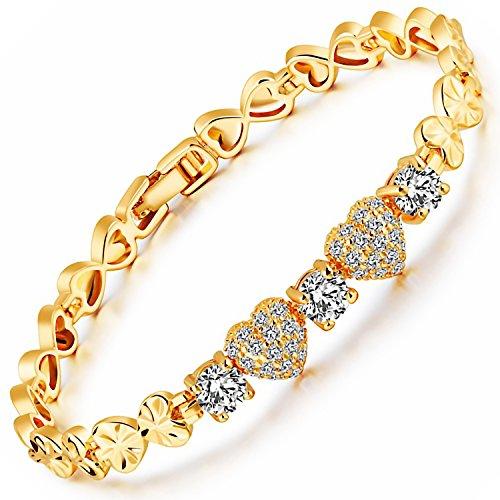 [해외]MAX World 팔찌 AAA 크리스탈 18 금 골드 휘루도 보석 팔찌 Cz 다이아몬드 18K Yellow Gold Filled 여성 패션 하트/MAX World Bracelet AAA Crystal 18 Gold Golded Filled Jewelry Bangle Cz Diamond 18K Yellow Gold Filled Women`s Fashion Heart