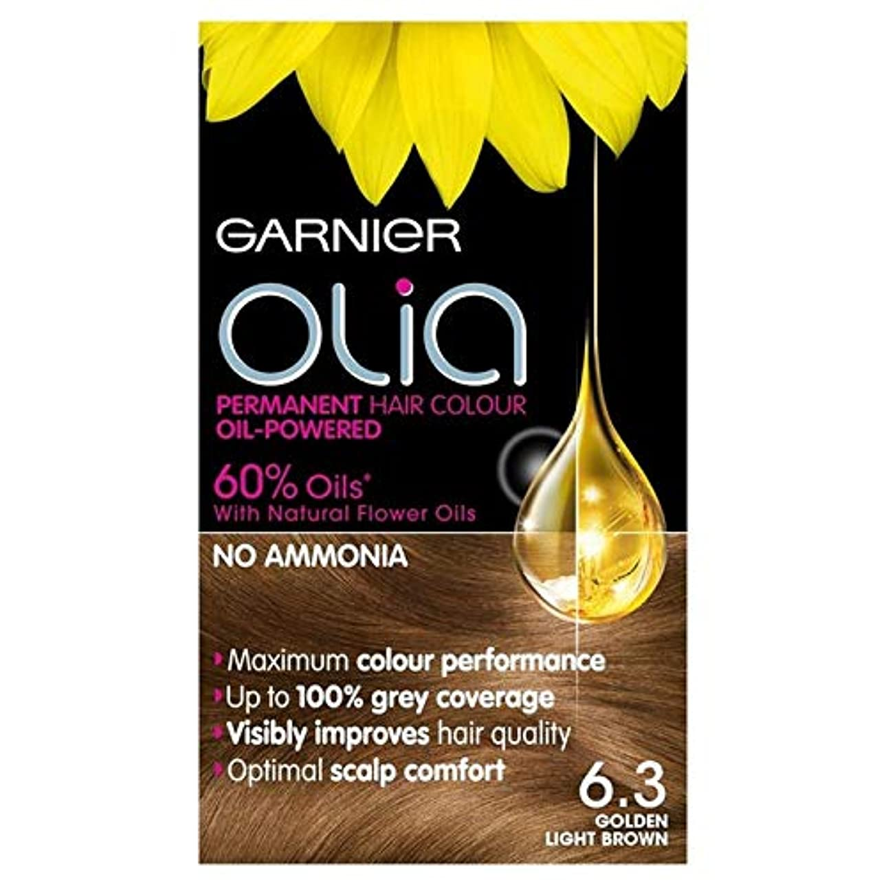 黙認する君主制見落とす[Garnier ] ガルニエOlia 6.3黄金のライトブラウンパーマネントヘアダイ - Garnier Olia 6.3 Golden Light Brown Permanent Hair Dye [並行輸入品]