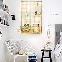 DADANGSH 金ワイヤーラック金属写真現代壁掛け棚収納オーガナイザーバスケットw/LED DIYツール