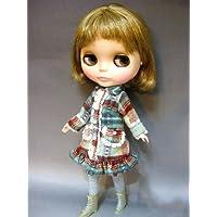 Blythe ネオブライス 洋服 ライトブルー&ブラウンチェック ジャケット 1/6ドール用サイズ コート C-268
