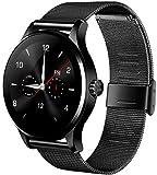 RG 防水の機能のブルートゥースの知能鋼は腕時計のスポーツを持って健康の監視測定を記録して、iOSAndroidに適用します-ブラック(K88H)