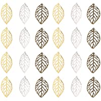 EXCEART 300 Pcs Tree Leaf Charms Jewelry Making Pendants Hollow Metal Handmaking Accessories for Crafting DIY Bracelet Necklace Earrings