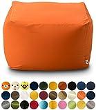 エムール 日本製 マイクロビーズクッション 『mochimochi』 キューブ Lサイズ クッション本体+専用カバー(オレンジ)
