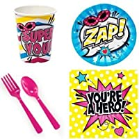 Girls Superhero Party Supplies for 16 Guests [並行輸入品]
