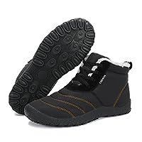 スノーシューズ レディース メンズ 防水 防寒 防滑の綿靴 雪靴 通学 通勤用(X-ブラック 26.5)