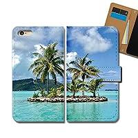 AQUOS ZETA SH-04H ケース 手帳型 海 手帳ケース スマホケース カバー 海 常夏 南国 海外 ヤシの木 サマー E0317010087604