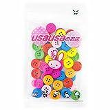 usausaのお店 カラフルウッドボタン 7色50個セット (15mm、4つ穴)