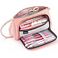EASTHILL Big Capacity Pencil Pen Case Bag Pouch Holder for Middle High School Office College Girl Adult Large Storage Pink