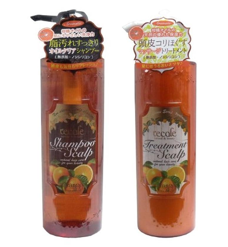 化学薬品知覚できるランドマークレコル ノンシリコンオイルクリア オレンジの香り シャンプー&トリートメントの2点セット(各500ml )