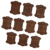 Perfk 10枚 木製ボビン フロスボビン ステッチ 刺繍 片付け ボビン - 6.8*5.9*0.3CM
