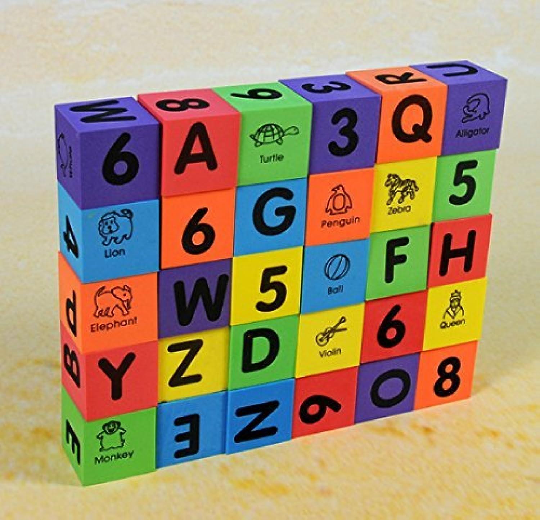 Verdes 30 Pcs Alphabet & Numbers Foam Blocks [Floral] [並行輸入品]