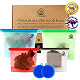 EcoChoice Premium Food Grade Silicone Storage Cooking Bags   Hot and Cold Tolerance -50 ~ 250 degree   (Set of 4) 2 Med (1000ml) and 2 (1500ml) Large Reusable Ziploc Bags with 2 FREE silicone scrubbers - Airtight Storage Bags for Lunch, Fruits, and Liquid - Zero Waste Reusable Snack Bag for Freezer and Microwave
