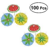 BESTOYARD 100個 ハワイの果物のカクテルパラソルのドリンクの傘プーリーのデザートパラソルのピクニックプールパーティー(混合色)
