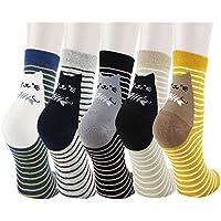 Women Girl Cartoon Animal Cute Casual Cotton Novelty Ankle Crew socks 5 pack-Gift Idea