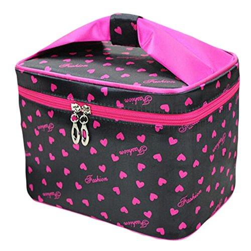 HOYOFO 化粧ポーチ メイクバッグ バニティケース 小物入れ 旅行 折り畳み 大容量 機能的 ミラー付き 黒