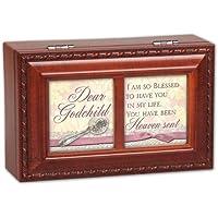 Cottage Garden Dear Godchild Woodgrain Petite Music Box / Jewelry Box Plays Jesus Loves Me by Cottage Garden
