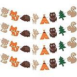 Chuangdi 4ピース 森の生き物 バナー 森の動物 フェルトガーランド 森のテーマ ベビーシャワー ウェディング 誕生日パーティー用品