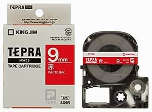 キングジム テープカートリッジ テプラPRO 9mm SD9R 赤 白文字