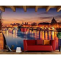 Lcymt フランス住宅川橋街路灯街の写真壁紙リビングルームのソファテレビ壁の寝室バー3D壁画-200X140Cm