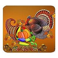 ハッピー感謝祭デイハーベストフェスティバルの祝福トルコカボチャのメープルの葉アート美しい最高のギフトユニークなカスタム長方形のマウスパッド、ゲームノンスリップラバーマウスのパッドのマット
