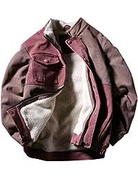 (habille)メンズ ブロックカラー 配色 レッド ブルゾン 裏ボア 防寒 ジップアップ おまけ付(レッド)