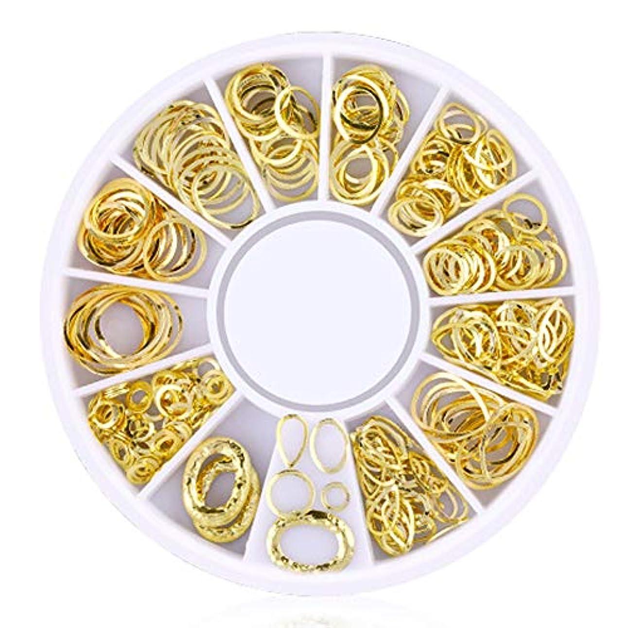 その後クリーム診療所Snner 3D ネイルパーツ メタル ゴールド ハート 星 月 花 蝶結び 幾何風 12種形 ネイルデコレーション 円型ケース入リ ピンクケース 200点セット (幾何風 5)