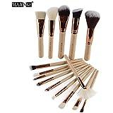 a-store Silking 15pcsメイクアップブラシセット、ソフト合成Foundation Eyeshadow Blusher Beauty Cosmeticツール(ゴールド)